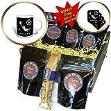 3dRose Alexis Design - Sport Soccer - Football, soccer. Goalkeeper, sun. Grey sign SOCCER. White on black - Coffee Gift Baskets - Coffee Gift Basket (cgb_281069_1)