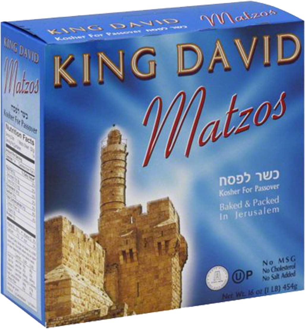 Matzo Passover Matzah Israeli Kosher For Passover King David Matzos One Pound Box (1 LB Box) by King David