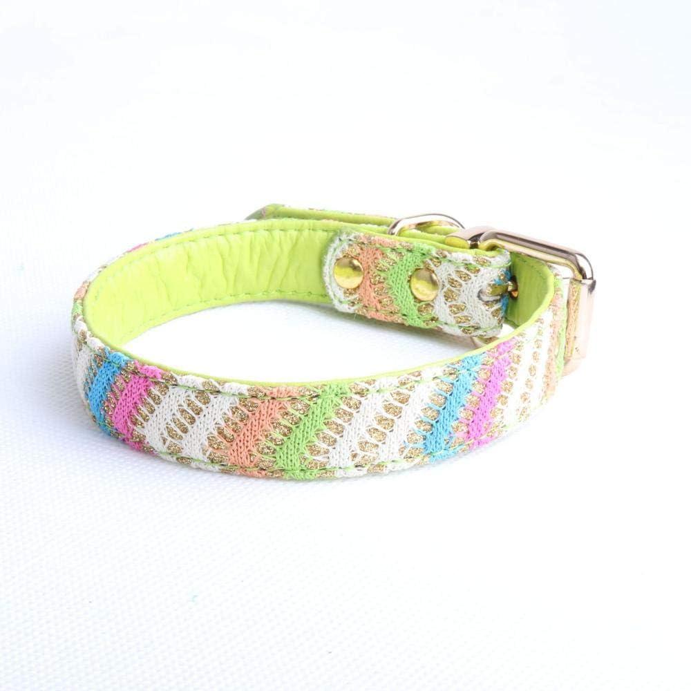 XJBD Collar para Mascotas Collar de Perro de Cuero-Verde_2.0 * 40 cm Pajarita para Perros y Gatos