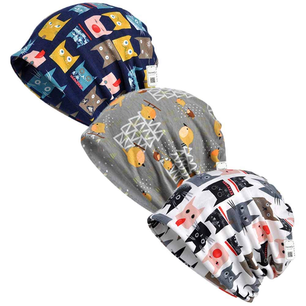 Inconly Chemo Caps for Women Slouchy Beanies Cancer Patients Sleep Hats Warm Soft Stretchy 3 Pack by Inconly