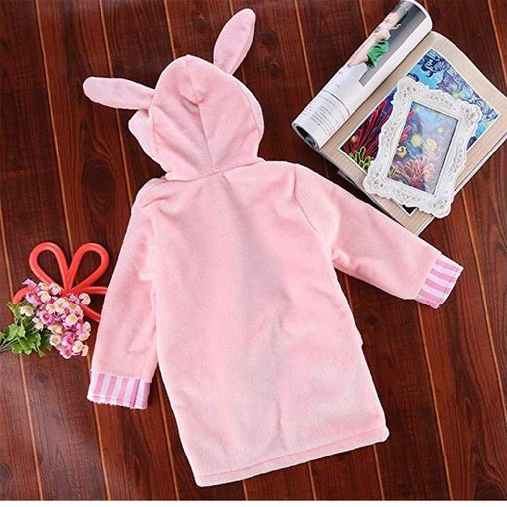 Infant Baby Boys Girls Cartoon Animal Bathrobe Coral Velvet Hooded Towel Bath Robe Long Sleeve Pajamas Clothes Gray Mouse, 1-2Y