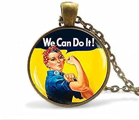 Collar de mujer fuerte y femenino, colgante de mujer fuerte, fuerte feminismo, colgante de rosa, puede hacerlo: Amazon.es: Juguetes y juegos