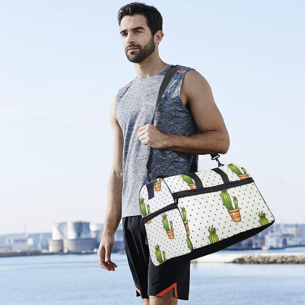 Dot Black Cactus Planter Large Travel Duffel Bag For Women Men Overnight Weekend Lightweight Luggage Bag