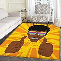 Afro Non Slip Rugs Happy Hippie Man with Colorful Sunglasses Lifting His Thumbs Retro Positive Vibes Door Mats for inside Non Slip Backing 4x5 Multicolor