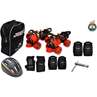Jaspo Tenacity Red Pro Adjustable Senior Roller Skates Combo Suitable for Age Group 6 to 14 Years (Skates+ Helmet + Knee Guard+ Elbow Guard +Wrist Guard+ Bag+Key)