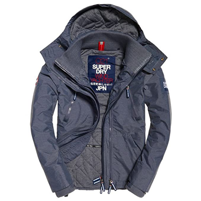 Superdry Hooded WINDYACHTER, Abrigo Impermeable para Hombre, Azul (Light Nvy Marl/Navy/WhiteXRI), XL: Amazon.es: Ropa y accesorios