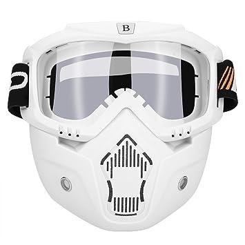 Qiilu Máscara de casco del Moto con Gafas Desmontable Anti-niebla para Cascos Abierto Media