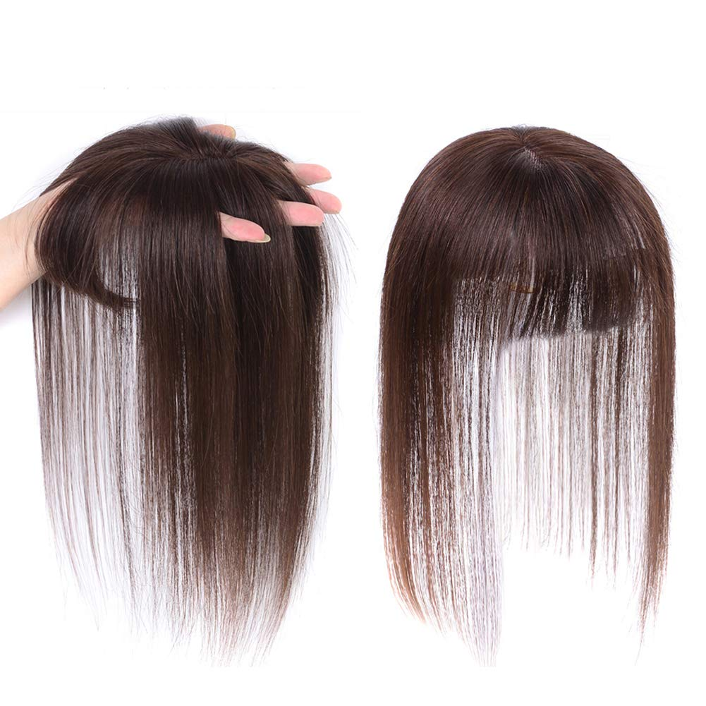JISHENG Clip in Remy Human Hair Straight Hair Piece Silk Base Hair Crown Toppers for Women 14inch by JISHENG