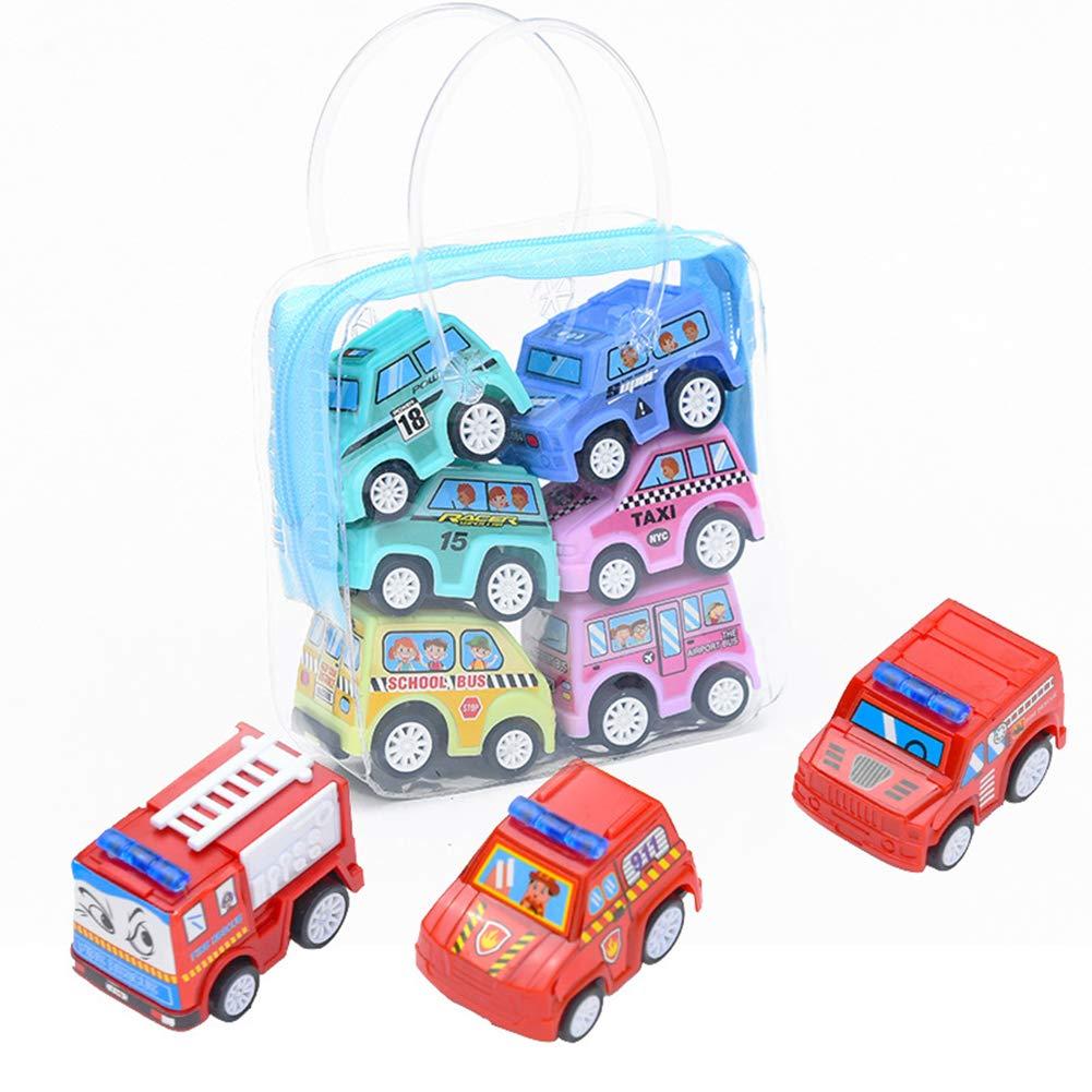 Engineering Truck FeiyanfyQ 6Pcs Children Kids Mini Simulation Engineering Truck Fire Car Vehicle Model Toy