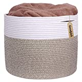 "INDRESSME Large Cotton Rope Storage Basket - Woven Blanket Basket in Living Room Pillows Storage Bins with Handles for Toys Plant Basket Home Decor Warm Mix Brown White, 15.8""x15.8""x13.8"""