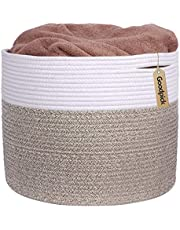 """INDRESSME Large Cotton Rope Storage Basket - Woven Blanket Basket in Living Room Pillows Storage Bins with Handles for Toys Plant Basket Home Decor Warm Mix Brown White, 15.8""""x15.8""""x13.8"""""""