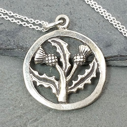 Thistle Scottish Jewellery (Scottish Thistle Necklace - 925 Sterling Silver)