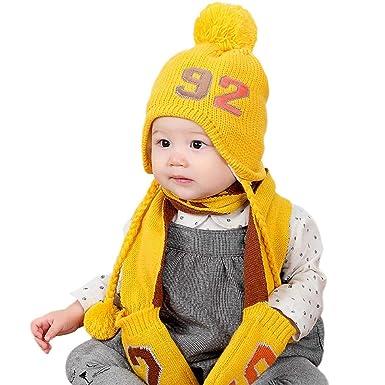 1c66429f749 Chapeau Enfant ADESHOP Mode Enfants GarçOn Fille Hiver Chaud ÉPaissir BéBé  Chaud Gants Chapeau Bonnet De