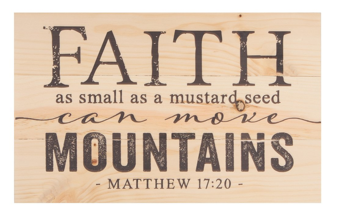 Faith Mustard Seed Move Mountains Natural 17 x 10.5 Wood Pallet Wall Plaque Sign