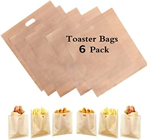 HSIULMY 6 Pack Toaster Bags Reusable, 100% BPA Gluten Free of Premium Quality Teflon Toaster Bags for Grilled Cheese Sandwiches, Chicken, Pizza, Pastries, Panini