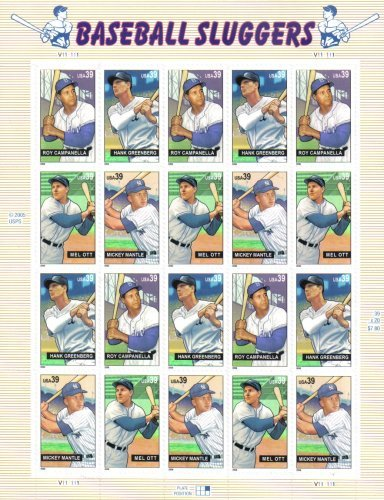 BASEBALL SLUGGERS ~ MICKEY MANTLE ~ MEL OTT ~ ROY CAMANELLA ~ HANK GREENBERG #4083a Pane of 20 x 39¢ US Postage Stamps