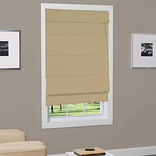 Textured Fabric Roman Shade with Liner Taupe 39 in. W x 64 in. L