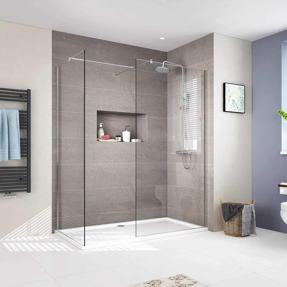 2Screen - Clear 800mm & 900mm 800mm Walk in Shower Enclosure 8mm EasyClean Glass Wetroom Shower Screen Panel with 900mm Side Panel