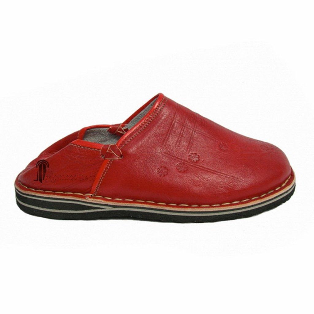 Medina Souvenirs Babouche Touareg Homme et Femme Couleur Rouge Babouches Confortables et Solides Chaussons Robustes pour Un Usage Quotidien