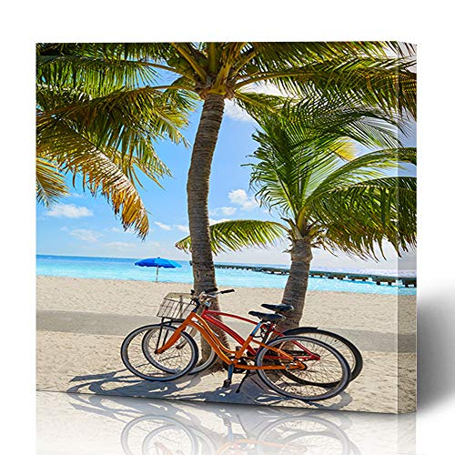 Ahawoso Canvas Prints Wall Art 12x12 Inches Cayo Blue Bike Key West Florida Beach Clearence Tree Parks Palm Coconut Bay Design Decor for Living Room Office -