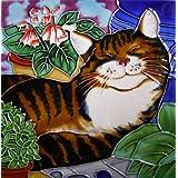 Continental Art Center BD-2171 8 by 8-Inch Sleeping Cat Ceramic Art Tile