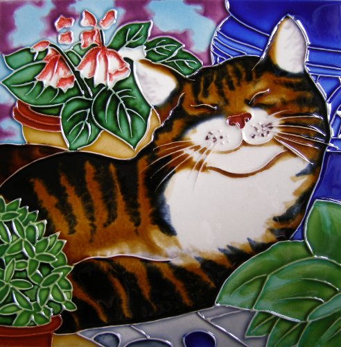 Continental Art Center BD-2171 8 by 8-Inch Sleeping Cat Ceramic Art Tile ()