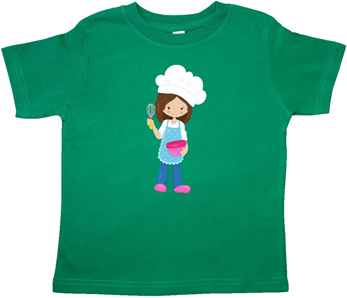 Brown Hair Toddler T-Shirt inktastic Baking Girl Girl with Chefs Hat