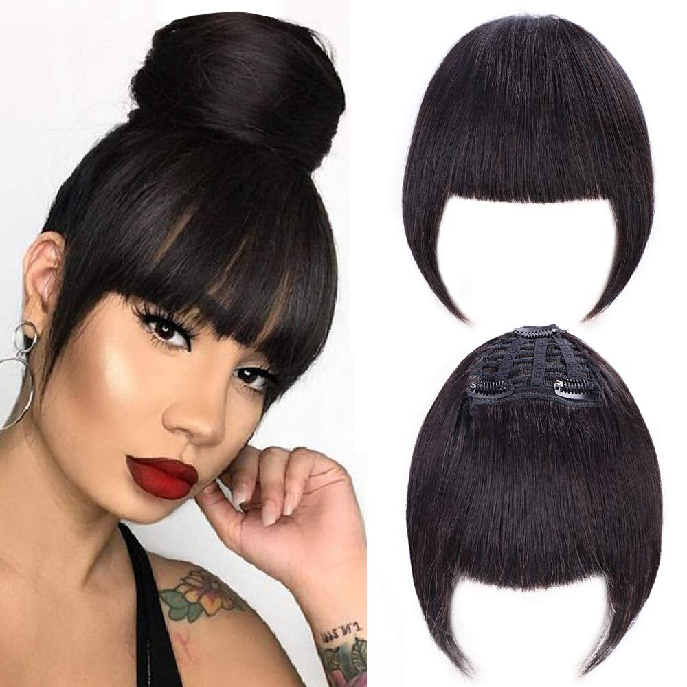 GongXiu Clip in Bangs Real Human Hair Bangs Extensions for Women Straight Flat with Temple Natural Black Bangs with 3 Clips(color:Black) by GongXiu