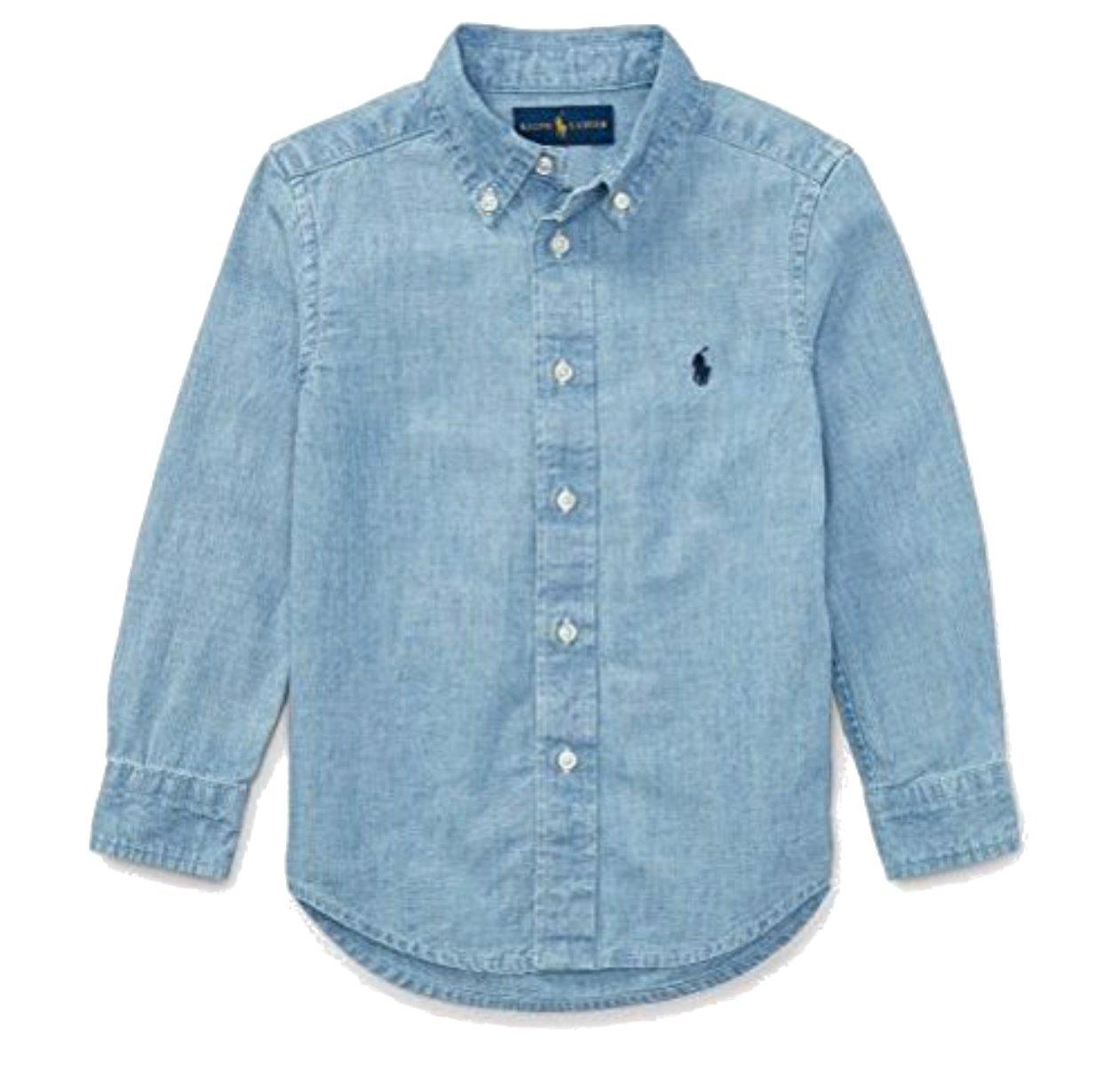 Ralph Lauren Boys Indigo Cotton Chambray Shirt (Small)