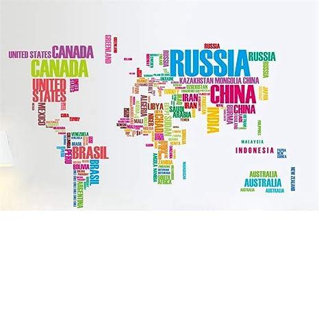 Qtxingmu Bunte Buchstaben Aufkleber Weltkarte An Der Wand