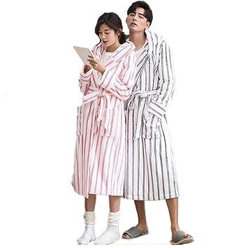 7fc9f51a5 Pijama LINGZHIGAN Pareja de Invierno de Moda Rayas Mujer cálida Traje de  Chaqueta de Servicio de casa Albornoz (Diseño : Men, Tamaño : L):  Amazon.es: ...