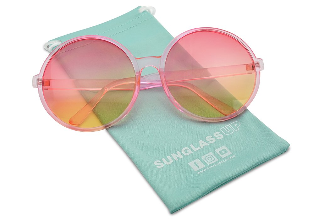 Super Huge Round Circluar Color Translucent Two Tone Lens Circle Retro Sun Glasses (Pink Frame   Pink Yellow Lens) by SunglassUP