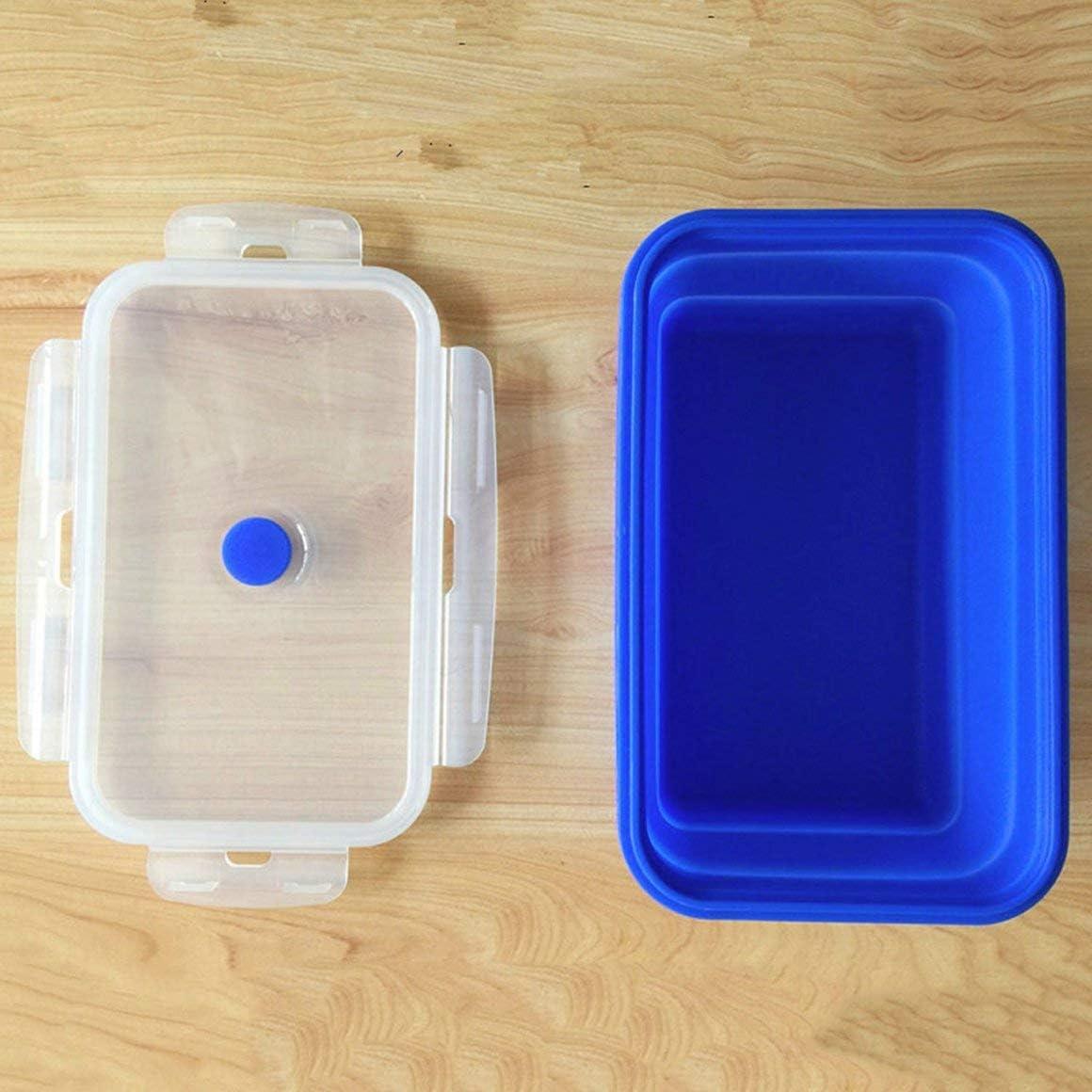 Funnyrunstore Pratique Bo/îte /à lunch pliable color/ée en silicone Respectueux de lenvironnement Portable Taille Enfants Conteneur de nourriture Four /à micro-ondes Lunchbox 1200ml