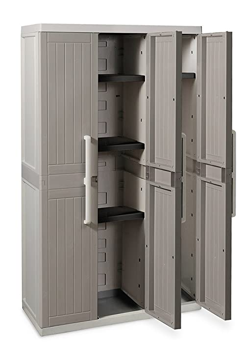 Toomax Armadio, Wood Line, S, 3 Ante, 97X37X165, Grigio, 37 x 97 x 165 cm