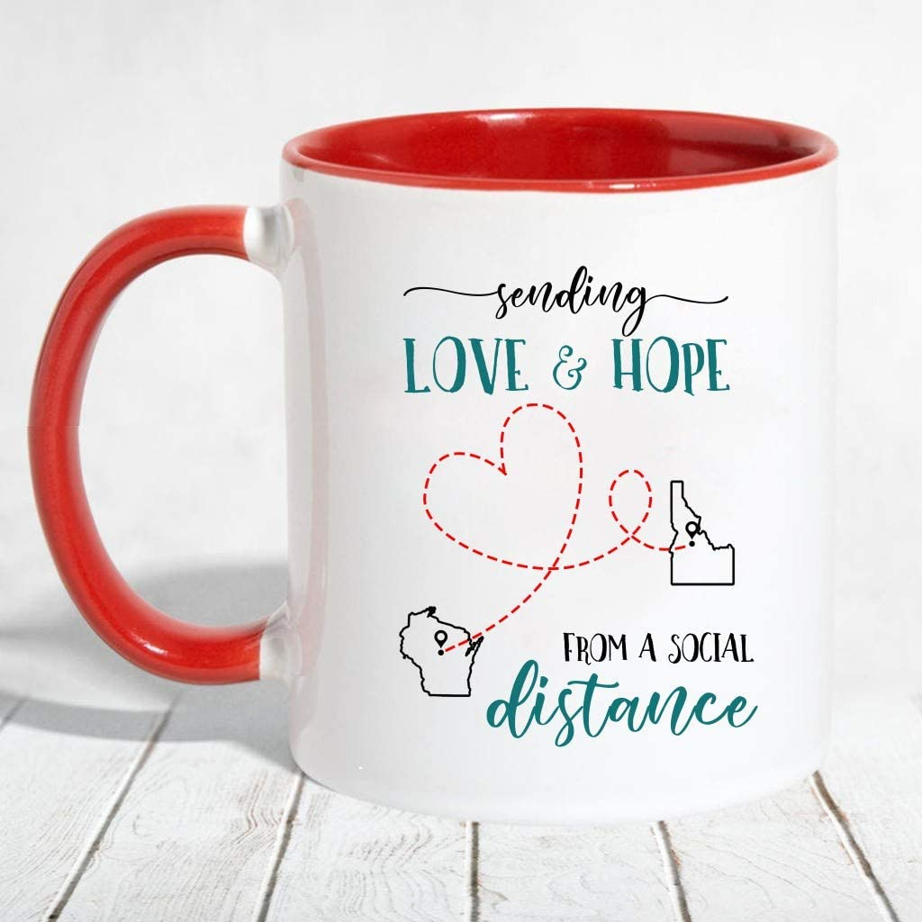amazon com social distance mug 2020 sending love and hope from a social distance long distance relationships gift map wisconsin idaho mother day accent mug 11 oz red kitchen dining social distance mug 2020 sending love and hope from a social distance long distance relationships gift map wisconsin idaho mother day accent mug