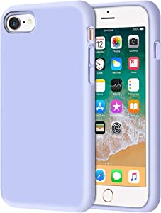 Anuck iPhone SE 2020 Case, iPhone 8 Case, Non-Slip Liquid Silicone Gel Rubber Bumper Case Soft Microfiber Lining Hard Shell Shockproof Full-Body Protective Case Cover for iPhone 7/8/SE - Light Purple
