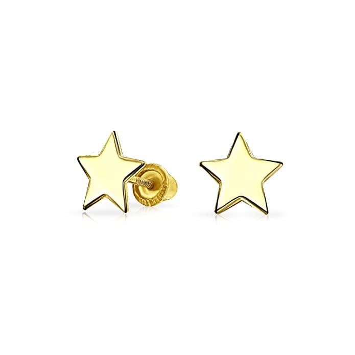 0679e12e6 Tiny Minimalist Celestial USA Patriotic Rock Star Stud Earrings For Women  For Teen Real 14K Yellow Gold Screwback: Amazon.ca: Jewelry