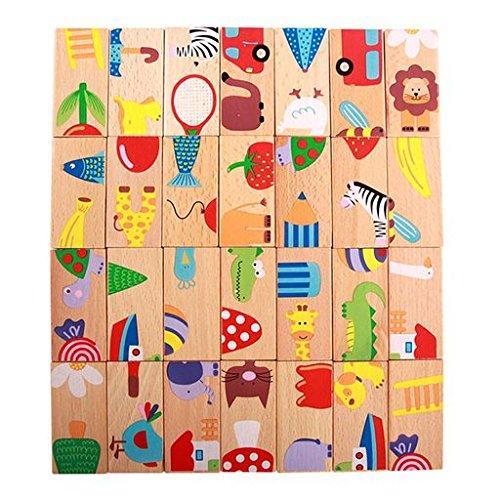 Geraffely 木製 ドミノ倒し おもちゃ 積木 ドミノ 動物 バランスゲーム カラフル 知育玩具 天然木製 おもちゃ 4種類の遊び方 こども 誕生日 プレゼント 28点セット