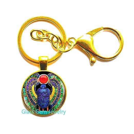 Q0112 - Llavero de Scarab egipcio, joyas de Scarab, joyas ...