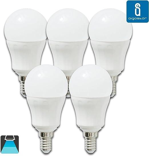 Pack de 5 Bombillas LED P45, 7W, casquillo delgado E14, 490 lumen ...