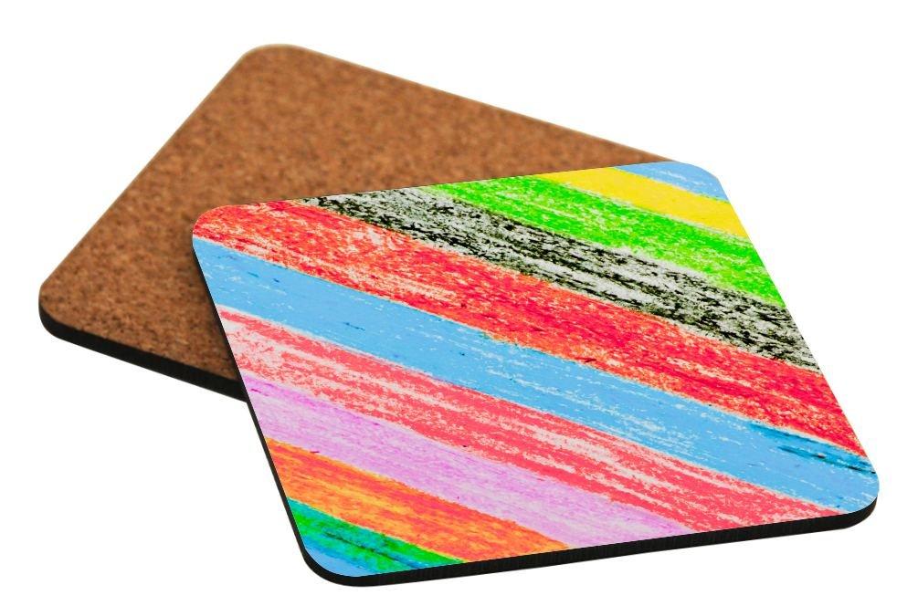 Rikki Knight抽象アートペイントデザイン – Squareビールコースター Set-of-4-HardboardCork レッド RK-4CorkCoaster-46522 Set-of-4-HardboardCork RainbowAstract B074F28J5J