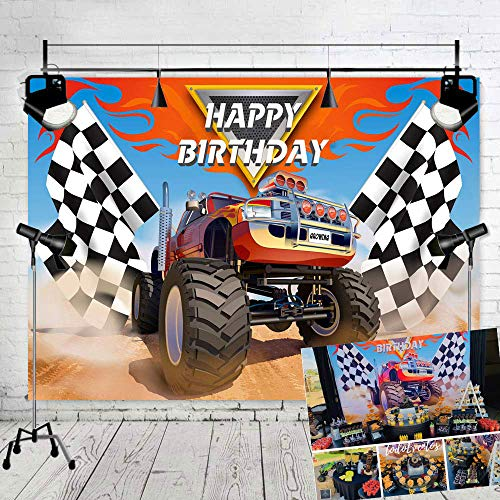 TJ Monster Truck Theme Photography Backdrops Baby Shower Boy Happy Birthday Party Decor Banner Grave Digger Speed Photo Background Studio Booth Props 7x5FT Vinyl]()