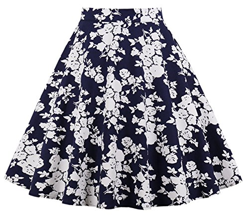 Cleaivy Women's Midi Pleated A Line Floral Printed Vintage Skirts (Navy Blue White Floral, Medium)