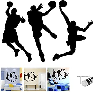 "Amaonm 31.5"" x 53.1"" Removable DIY Vinyl Three Basketball Players Slam Dunk Silhouette Wall Decals Spoting Basketball Duck Layup Sporter Wall Sticker for Kids Room Boys Bedroom Classroom (Black)"