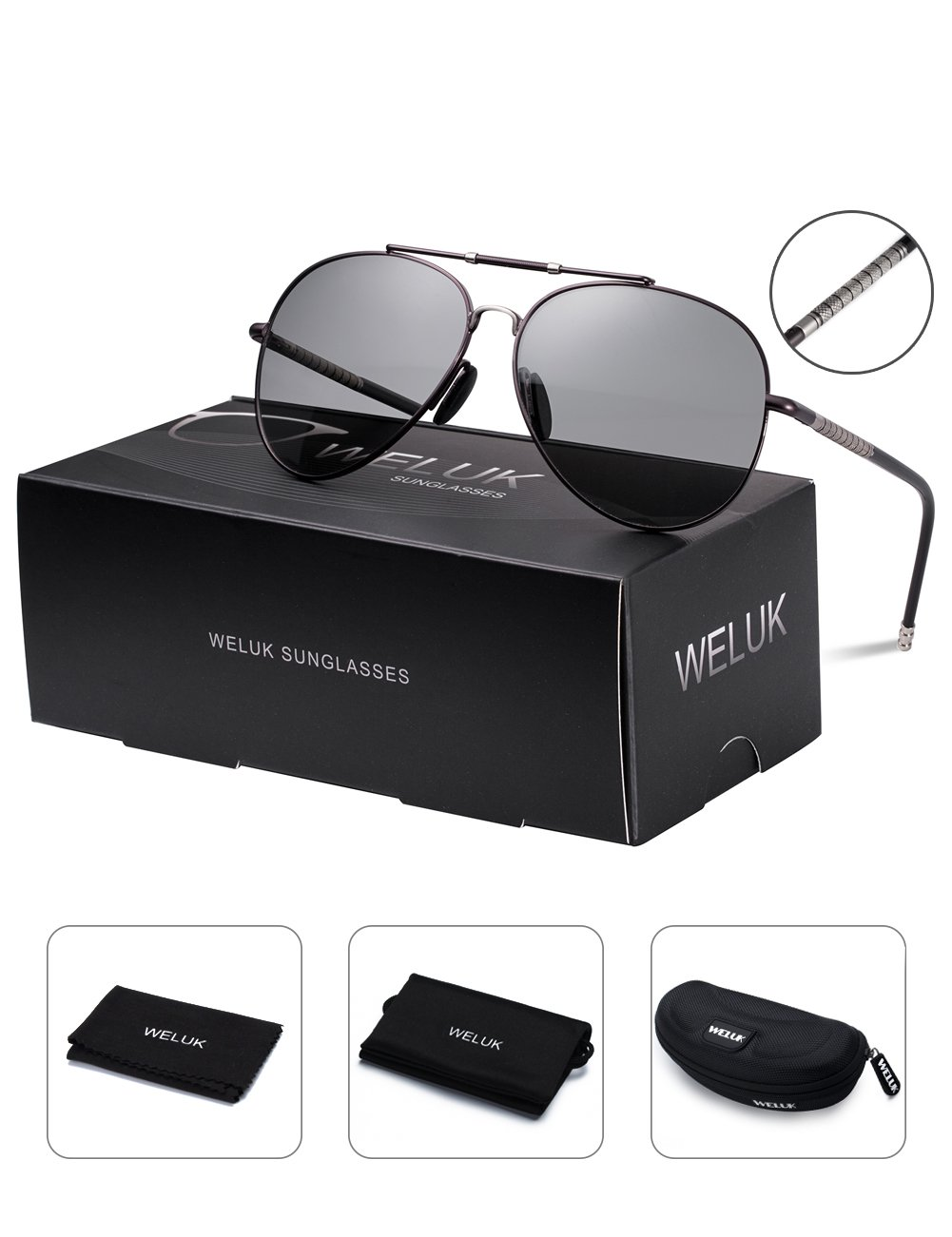 WELUK Aviator Sunglasses for Mens Womens Polarized Large Metal Frame - UV 400 Protection 63mm Photochromic Lens