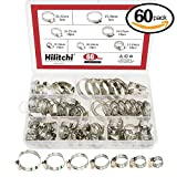 #5: Hilitchi 60 Piece Adjustable 8-38mm Range Stainless Steel Worm Gear Hose Clamps Assortment Kit