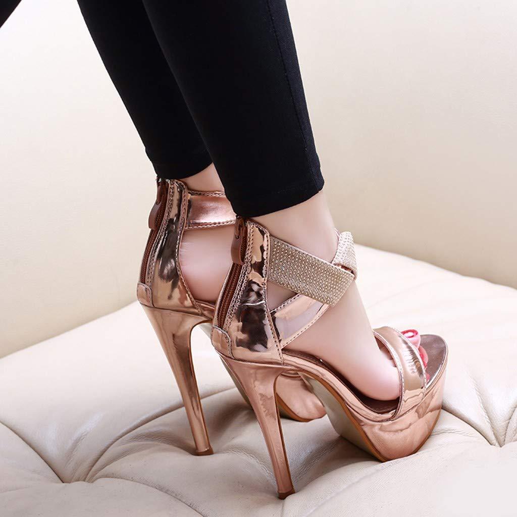 Orangeskycn Women Sandals Slip Pointed Toe Super High Heel Shoes Buckle Strap Gladiator Party Wedding Sandals Gold by Orangeskycn Women Sandals (Image #4)