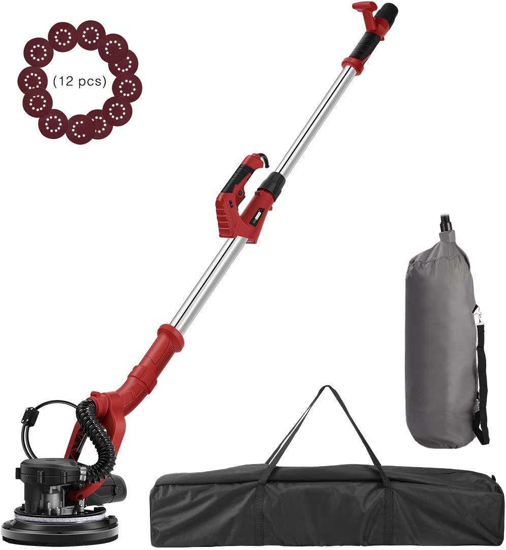 VIVOHOME 750W Electric Adjustable Variable Speed Drywall Sander Machine with Automatic Vacuum System LED Light and Storage Bag ETL Listed