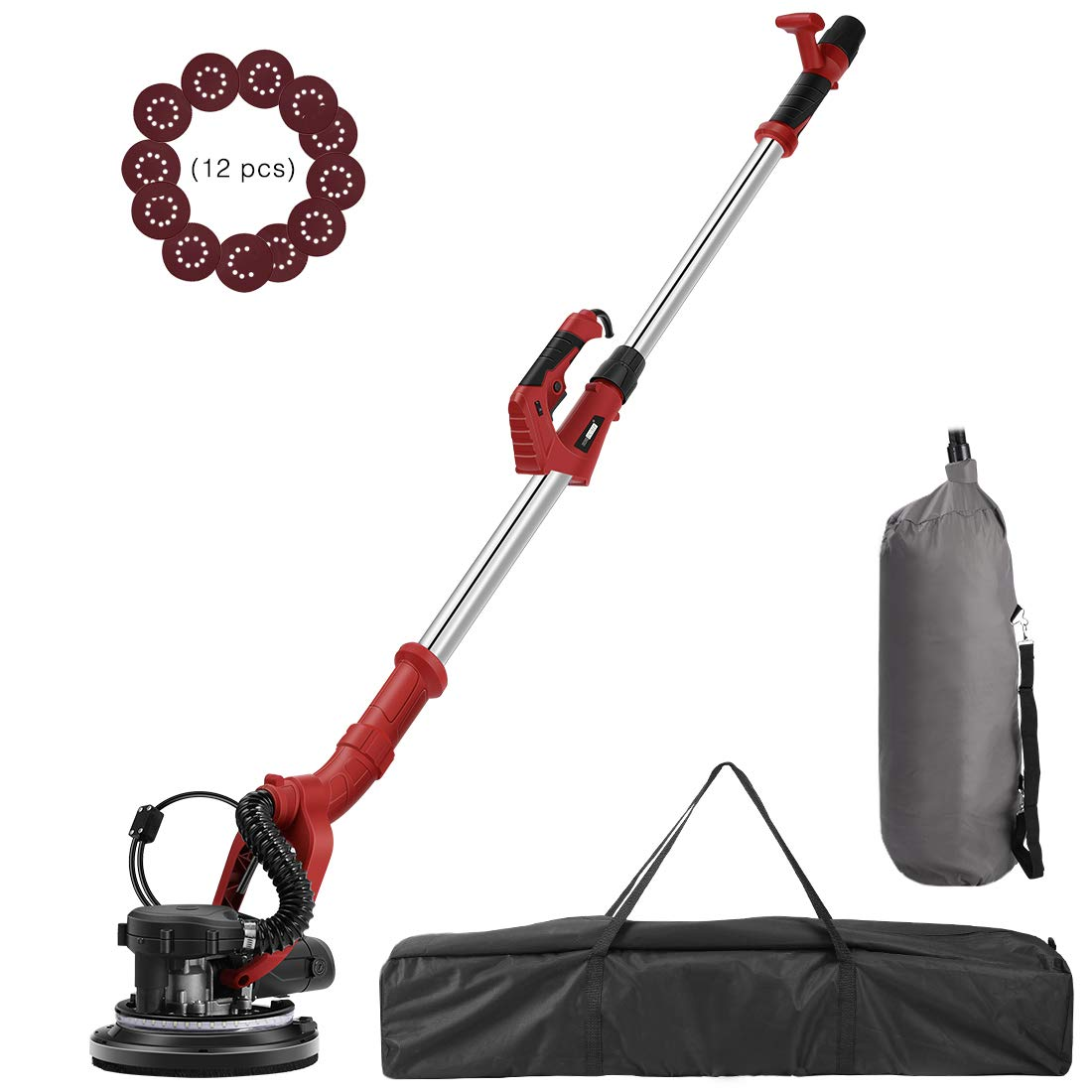 VIVOHOME 750W Electric Adjustable Variable Speed Drywall Sander Machine with Automatic Vacuum System LED Light and Storage Bag ETL Listed by VIVOHOME