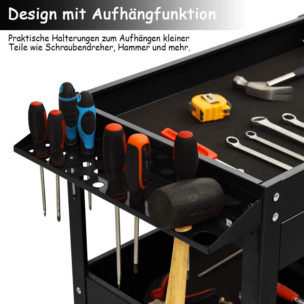 COSTWAY Werkzeugwagen mit Schublade Rollwagen Werkstattwagen 3 Etagen Handwagen Werkstatt Montagewagen Metall schwarz